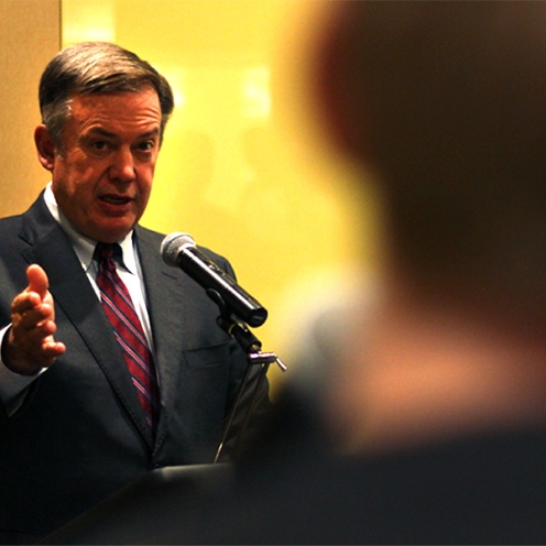 ASU President Michael Crow answers a students question about E-Sports at the Town Hall on Thursday.