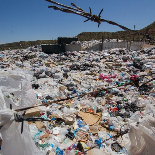Trash overflows from the Calva Waste Transfer Station on the San Carlos Apache Indian Reservation on March 25th, 2017.