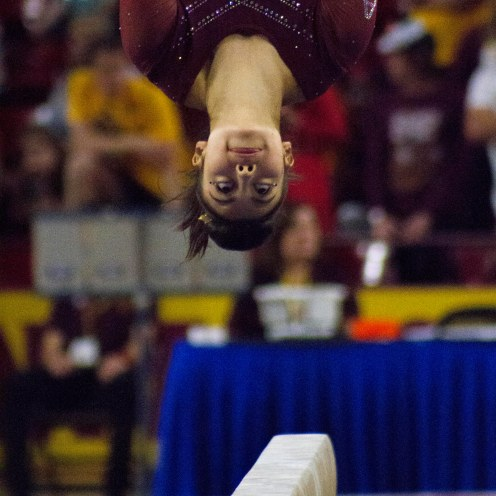 ASU Gymnast Katelyn Lentz performs her routine on the blanace beam during the February 25th gymnastics meet versus Utah in Tempe, Arizona.