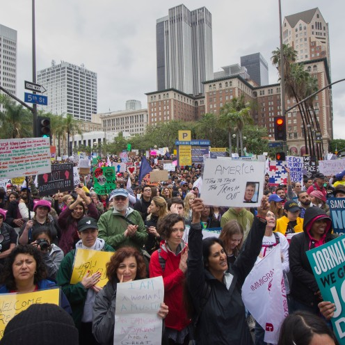 """Over 2500 people march through the streets of downtown Los Angeles for the pro-immigrant """"Free the People"""" march on February 18th, 2017."""