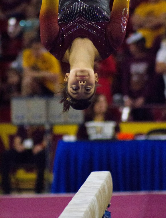 ASU Gymnast Katelyn Lentz performs her routine on the blanace beam during the February 25th gymnastics meet versus Utah in Tempe, Arizona.