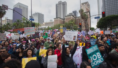 "Over 2500 people march through the streets of downtown Los Angeles during the pro-immigrant ""Free the People"" march on February 18th, 2017."